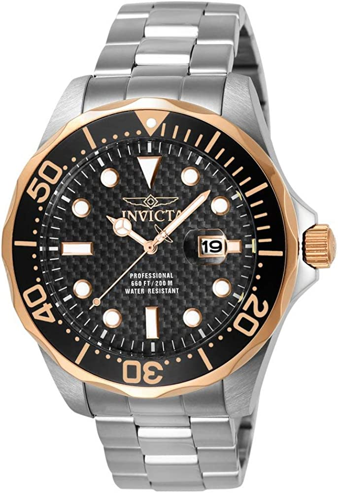 Invicta Men s 12567 Pro Diver Black Carbon Fiber Dial Stainless Steel Watch