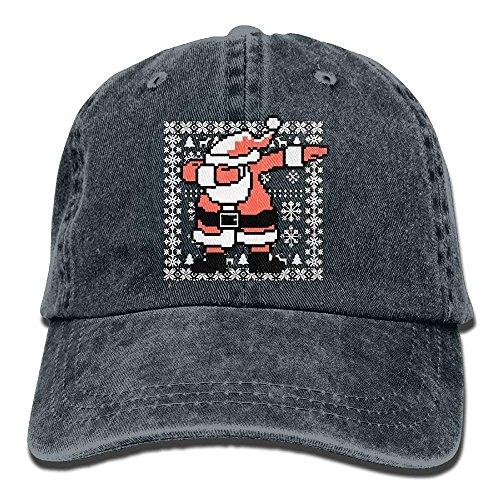 Unisex Dabbing Santa Claus Ugly Christmas Cotton Denim Baseball Cap Adjustable Sun Hat For Men Or Women -