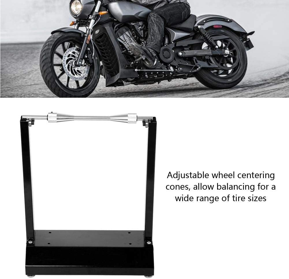 Black Motorcycle Wheel Balancer Universal Motorcycle Wheel Balancing Stand Maintenance Rack for Most Motorcycles