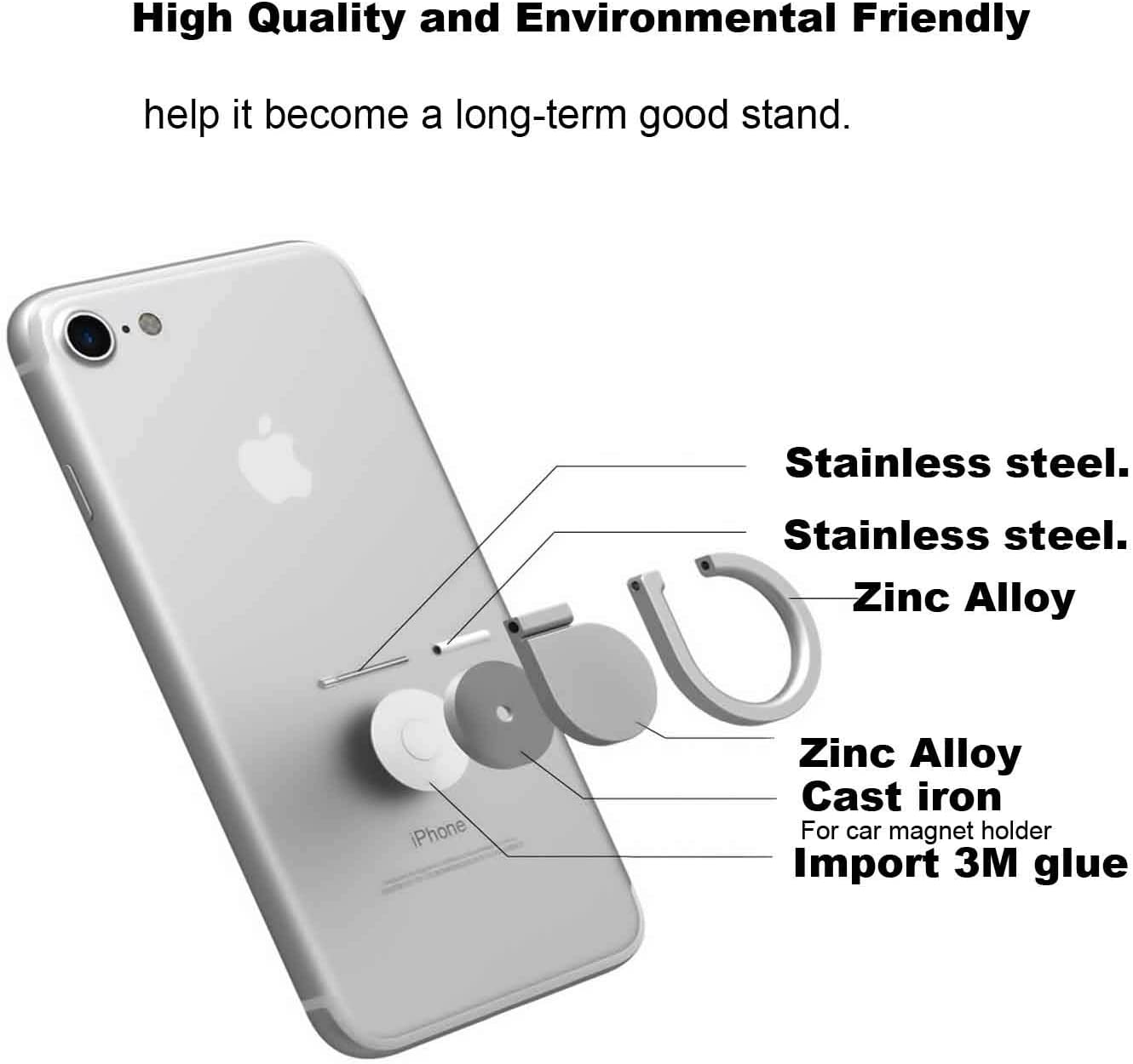Phone Ring Holder,iEugen Full-Metal 360 Rotation Phone Grip Kickstand Work on Magnetic Car Holder Universal Finger Stand for iPhone Xs XR MAX8 7 7 Plus 6S 6 5 5S,Samsung Galaxy S9 Plus,iPads-Gold