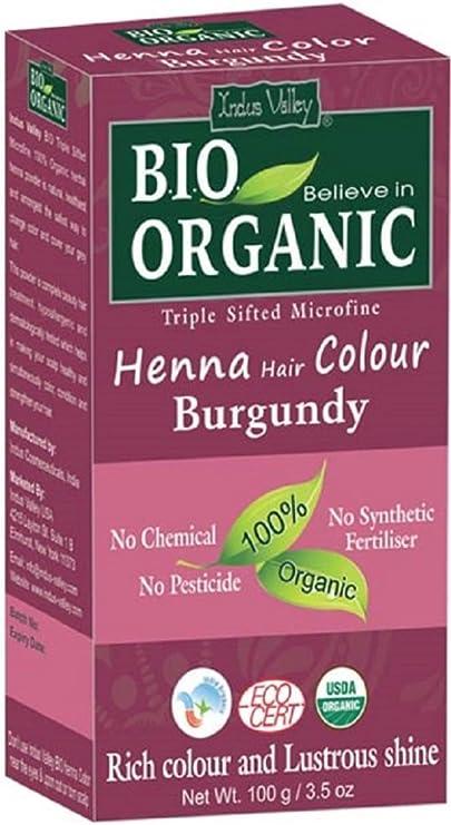 Indus Valley Tinte para el cabello de henna Borgoña 100% Bio Polvo microfino tamizado triple orgánico (Burgundy)