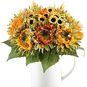 HO2NLE Artificial Sunflowers Bundle Silk Plants Faux Wedding Bride Bouquet Indoor Outdoor Fall Flower Table Centerpieces Arrangements Decorations Pack of 2 10