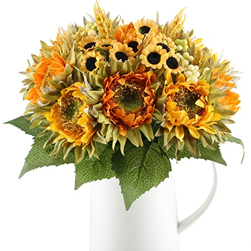 Flower Centerpiece Fall - HO2NLE Artificial Sunflowers Bundle Silk Plants Faux Wedding Bride Bouquet Indoor Outdoor Fall Flower Table Centerpieces Arrangements Decorations Pack of 2