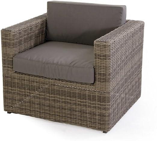 Verdelook - Juego de sillón modular Diletta marrón para decoración de jardín, mueble de exterior, 82 x 62 x 64 cm: Amazon.es: Jardín