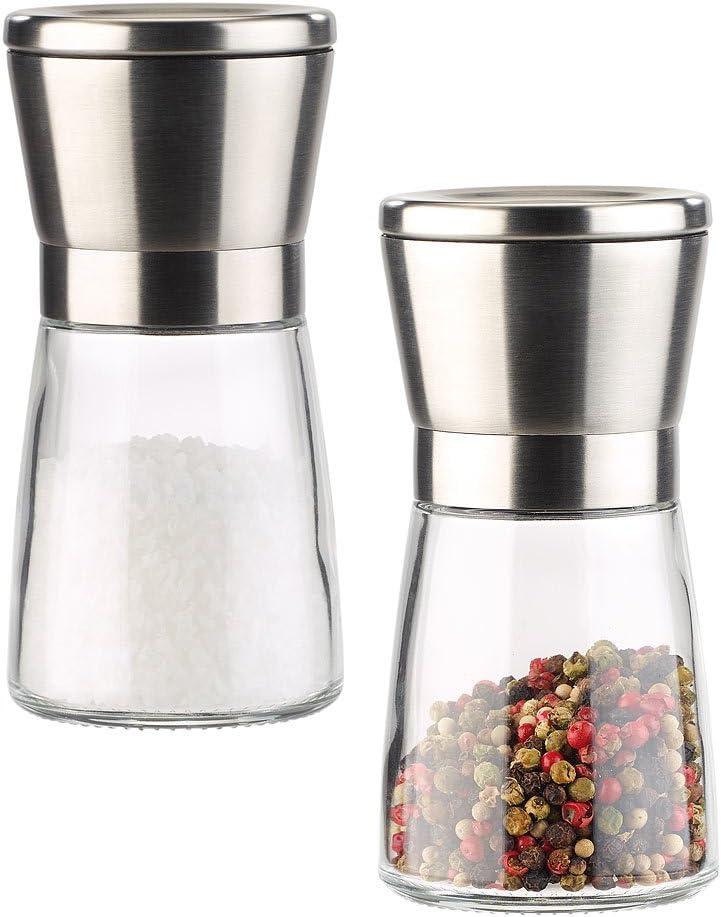 Pfeffermühle Manuell 2X Er Set Glas Edelstahl Keramikmahlwerk Gewürzmühle Salz