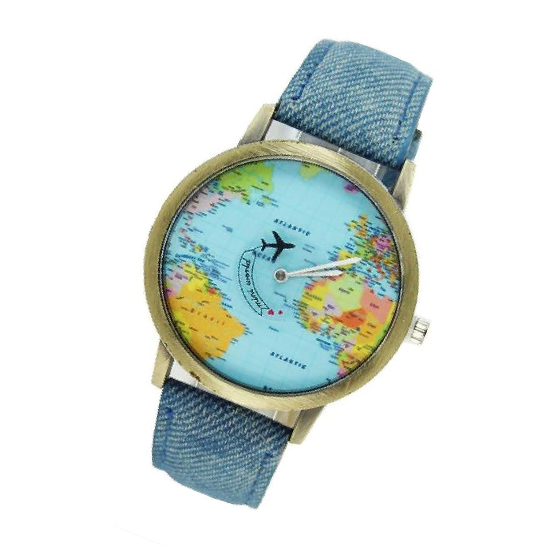 Amazon world map women men denim fabric watches quartz amazon world map women men denim fabric watches quartz relojes mujer relogio feminino gift blue watches gumiabroncs Images