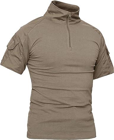 KEFITEVD – Camiseta de manga corta para hombre Combat Camiseta Tactical Army Camisa de artes marciales Paintball Military Camisa táctica camuflaje Slim Fit verano, Hombre, caqui, medium: Amazon.es: Deportes y aire libre
