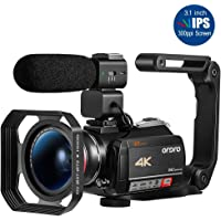 4K Camcorder, Video Camera ORDRO AC5 with 12x Optical Zoom 3.1'' IPS Touch Screen Ultra HD 1080P 60FPS Digital WiFi Camera Camcorders with Microphone Wide Angle Lens
