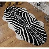 Zebra animal print faux fur sheepskin double rug 70 x 140 cm