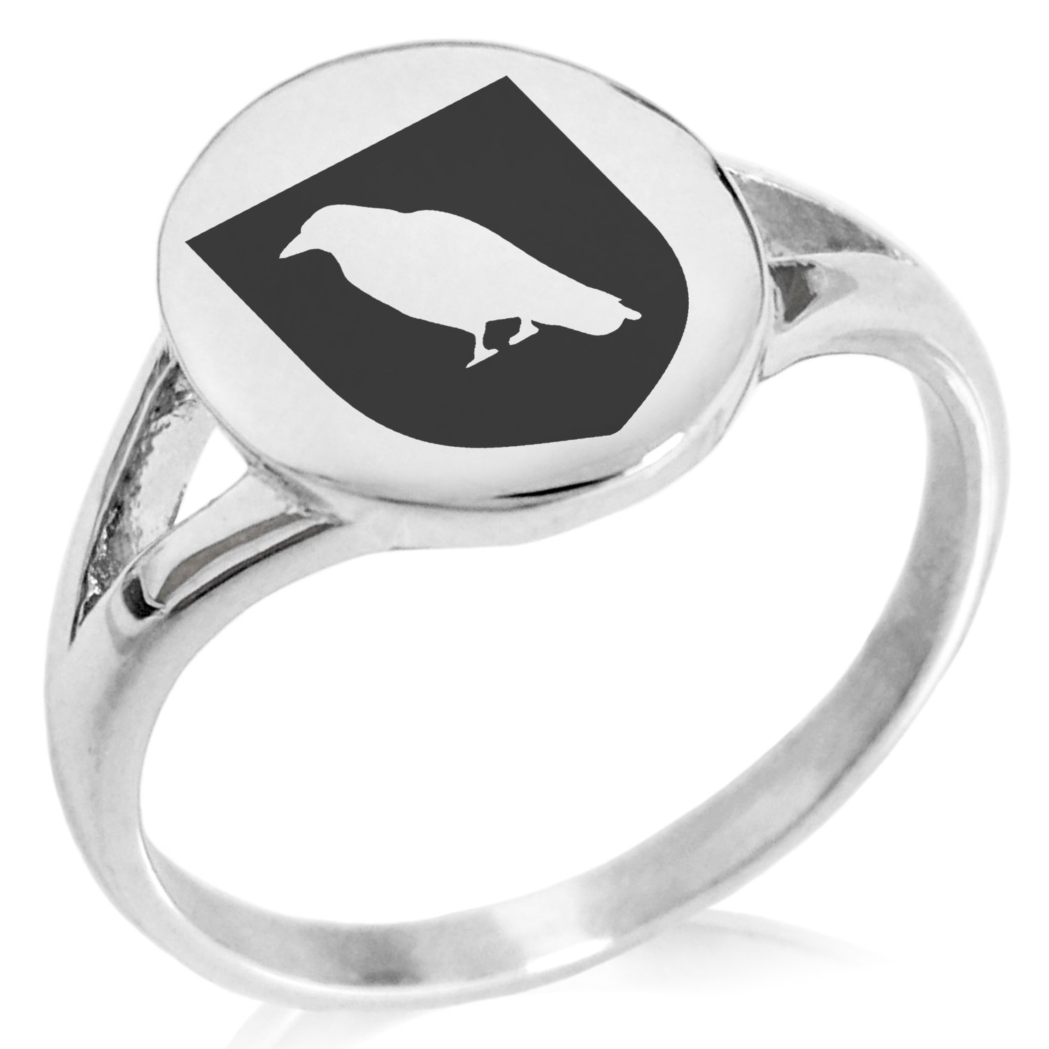 Tioneer Stainless Steel Raven Bringer of Death Coat of Arms Shield Symbol Minimalist Oval Top Polished Statement Ring, Size 5