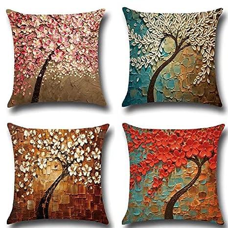 Juego de 4 fundas de cojín con diseño floral, de Creatwls, cojines decorativos, cuadrados, 45 x 45 cm, no incluye el relleno, algodón, lino, Style 3, ...