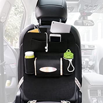 PAPISNOW Luxury Car Back Seat Organizer And Kick Mats Multipurpose Use As Auto Protector
