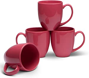 Serami 14oz Bistro Coral Mugs for Coffee or Tea. Large Handles and Ceramic Construction, Set of 4