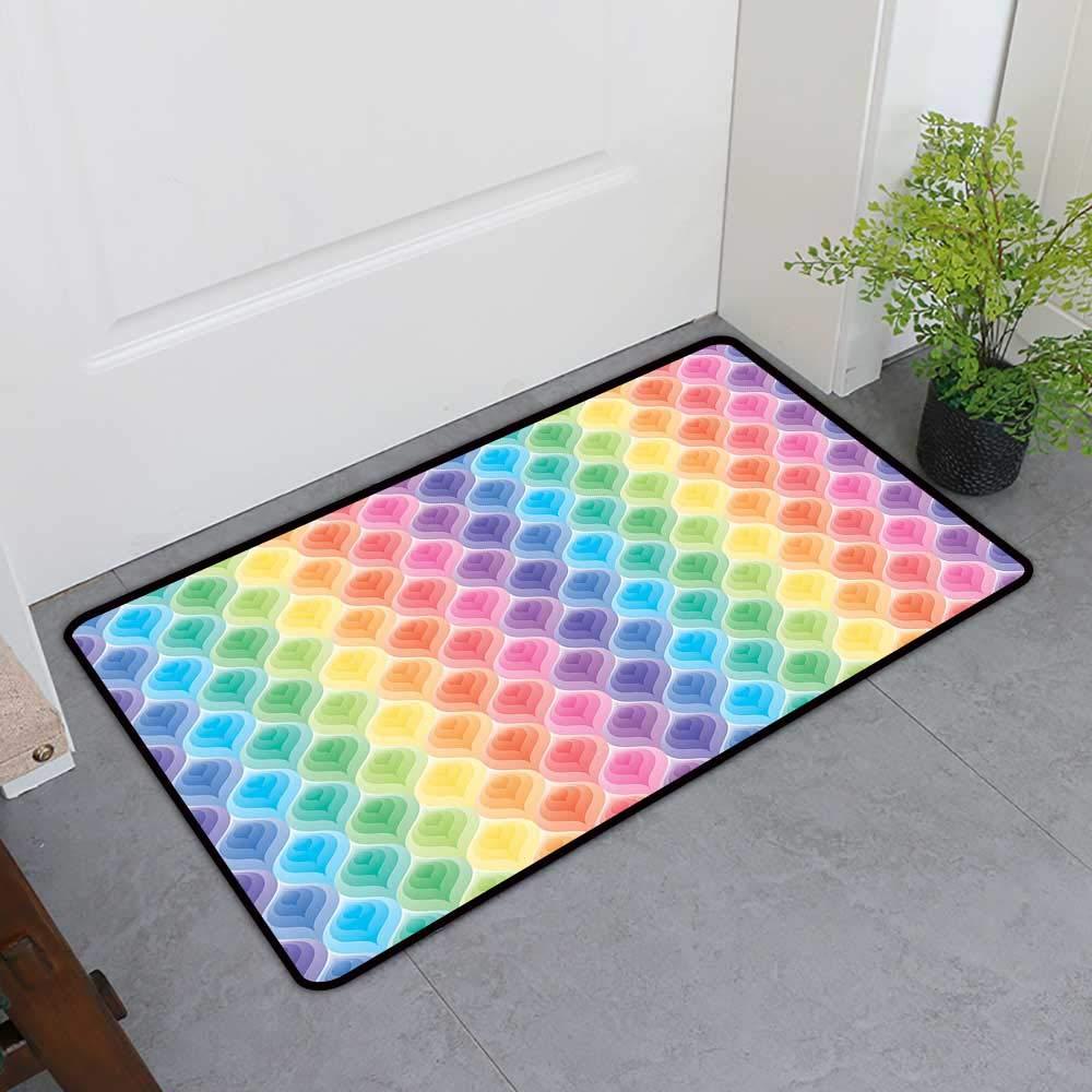TableCovers&Home Pet Door Mat, Geometric Non-Slip Rugs for Kids Room, Rainbow Colored Ornamental Vintage Floral Arrangement Leaf Pattern Retro Design (Multicolor, H32 x W48)