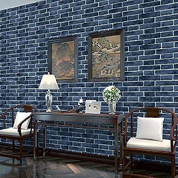 HL-PYL Papier Peint Mur de Brique Solide Fond d\'9.5x0.53m,Bleu ...