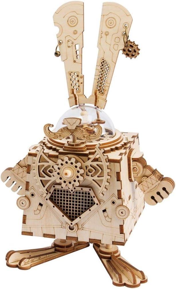 Láser corte rompecabezas de madera, kit de modelo para adultos para niños o adultos, punk DIY robot música caja-vacaciones regalo para niños y adultos: Amazon.es: Hogar