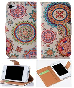 Gotida IPHONE 5 5S Flower Wallet card holder Flip Pu Leather Case for IPHONE 5 5S 07