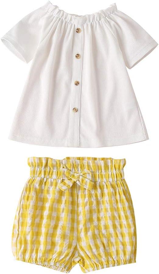Ropa para Bebé Niñas Recién Nacido Traje de Fiesta Dos Piezas Verano Camiseta con Estampado De Lunares Blusa De Encaje Patchwork Bowknot Top + Pantalones Cortos: Amazon.es: Ropa y accesorios