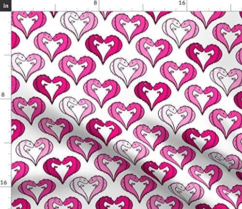 Spoonflower Couple Fabric - Heart Holiday Sweet Lizard Reptile Monster by Pond Ripple Printed on Sport Lycra Fabric by The Yard
