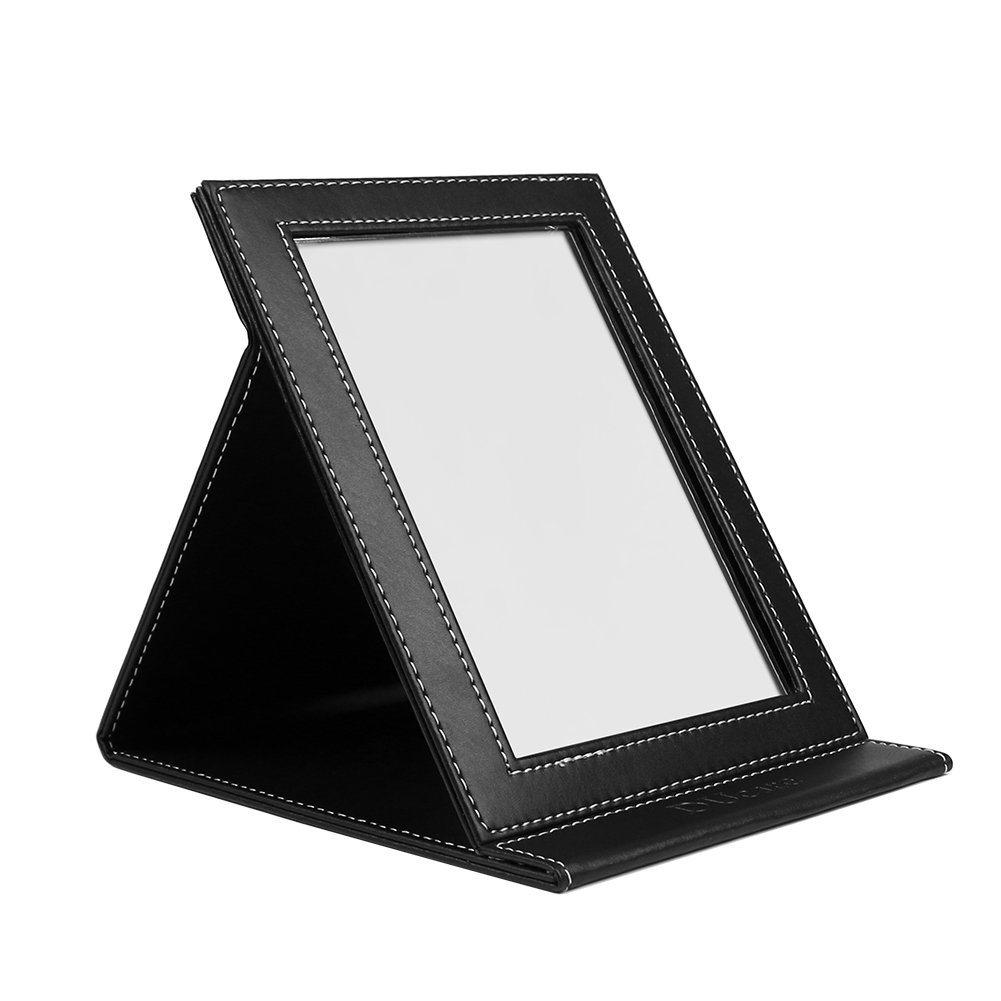 DUcare Folding Tabletop Makeup Mirror With PU Leather Cushioned Cover Large