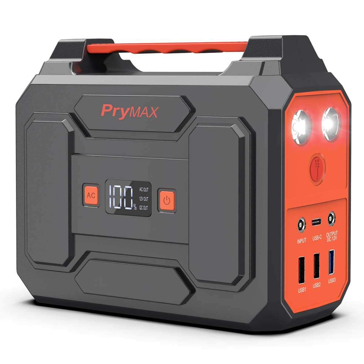 PRYMAX Portable Power Station, 167Wh Solar Generator Backup Battery Pack Power Supply with LED Flashlight,110V 100W Peak 200W , AC Outlet, QC3.0 USB,for Outdoors Camping Travel Emergency
