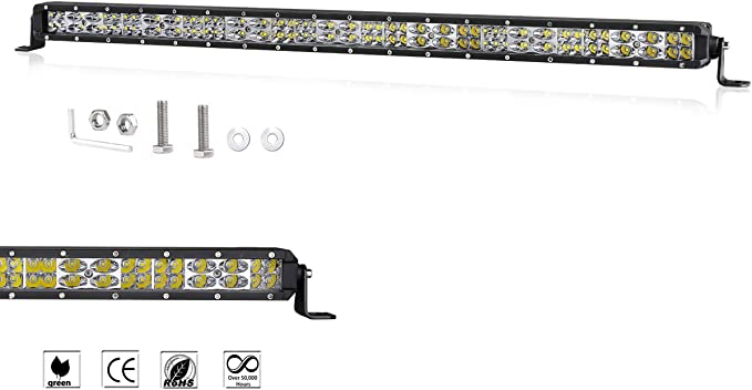 30in LED Work Light Bar Single Row Spot Flood Combo Dual Driving Bumper Slim 4WD