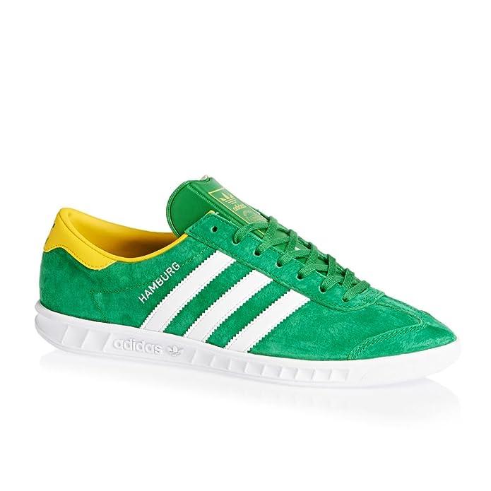 adidas Hamburg Herren/Damen Unisex Schuhe grün mit weißen Streifen