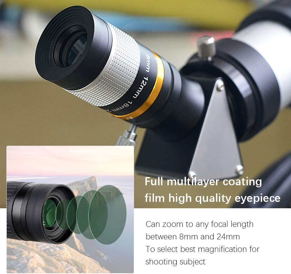 8‑24mm Astronomical Telescope Eyepiece 1.25inch//31.7mm Continuous Zoom Low//high Magnification Observation Telescope Lens for Moon Planets Astronomy Observation Shooting