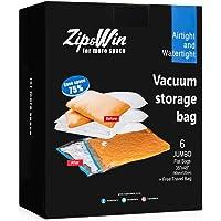 Zip&Win 6'lı Jumbo 90cm*120cm Vakumlu Hurç Poşeti - Yorgan, Yastık, Battaniye, Giysi Saklama Poşetleri (Plastik) + 1 adet Hediye Vakumlu Seyahat Poşeti