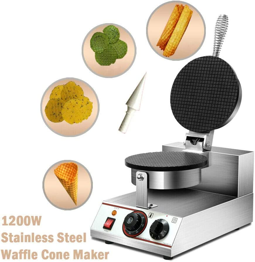 YUEWO Electric Ice Cream Cone Waffle Maker Machine Egg Roll Bowl Machine Waffle Cone Maker Stainless Steel Body Nonstick Surface for Commercial Home Use 1200W 220V