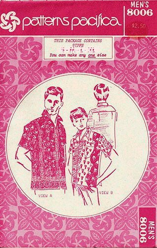 Patterns Pacifica 8006 Vintage ca. 1970s; Boy's or Men's Hawaiian Shirt Sewing Pattern, See Listing for Size - 1970s Hawaiian Shirt