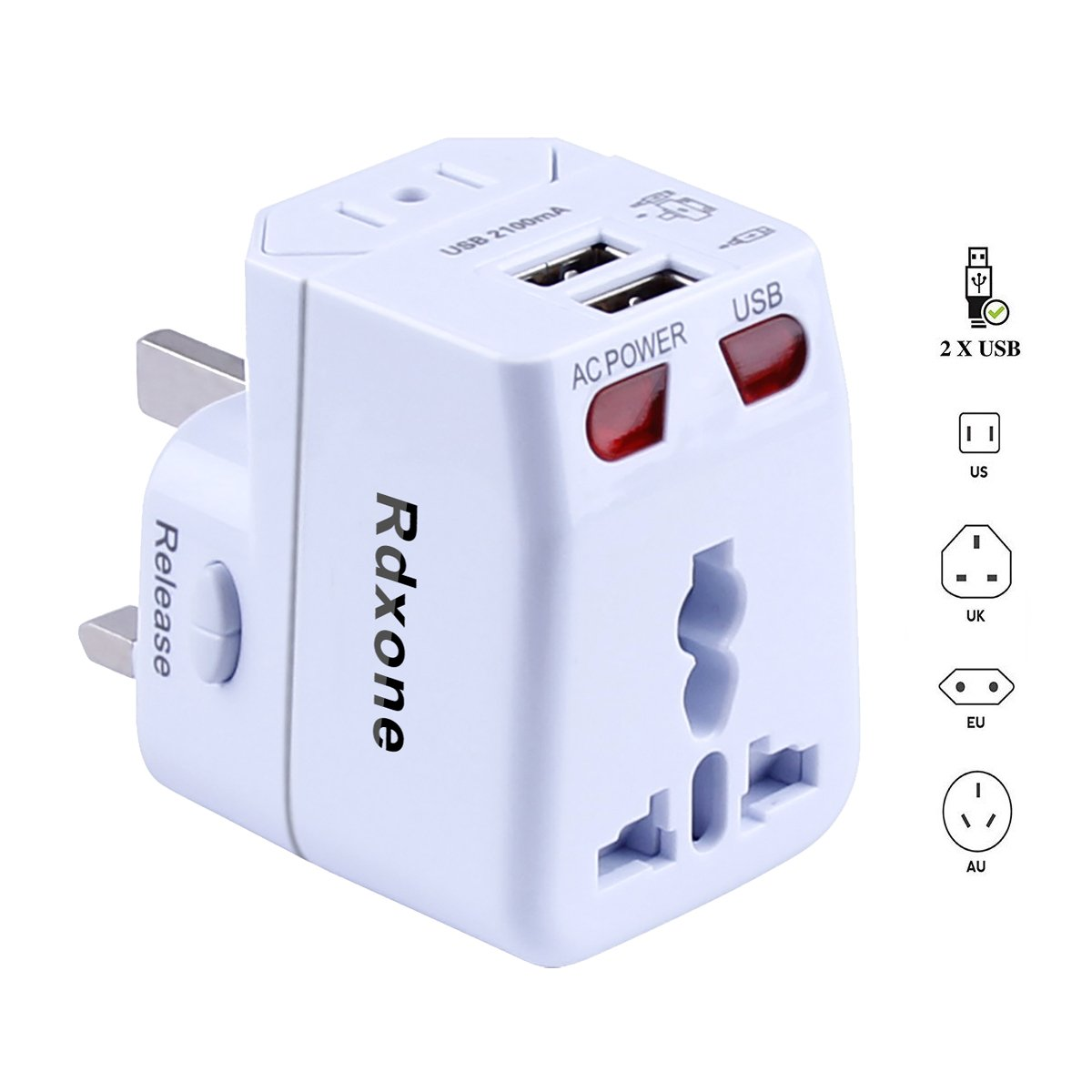 Rdxone Travel Adapter, Universal Plug Adapter with 2 USB for Europe, Italy, Ireland, UK, AU, Asia, Over 150 Countries -with Spare Fuse by Rdxone
