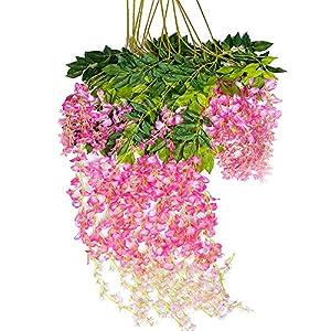Mavee 12 Piece 3.6 Feet Artificial Silk Wisteria Vine Ratta Hanging Flower for Wedding Décor (Pink)