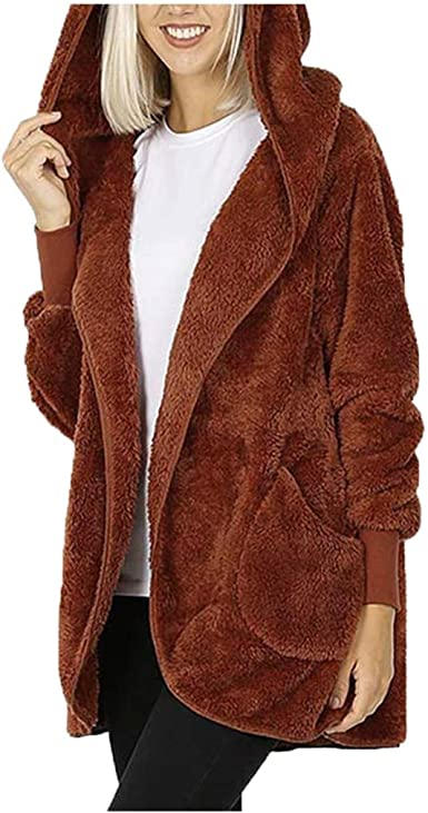 Yemenger Womens Open Front Hooded Lamb Wool Coat Double Side Cardigan Hooded Jacket Winter Fur Coat with Hood