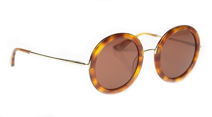 0c942860693 Lunettes de Soleil MED Designer Lunettes de Soleil Rondes Femme O2021  (Light Havana Brown Brown O2021BR)  Amazon.fr  Vêtements et accessoires