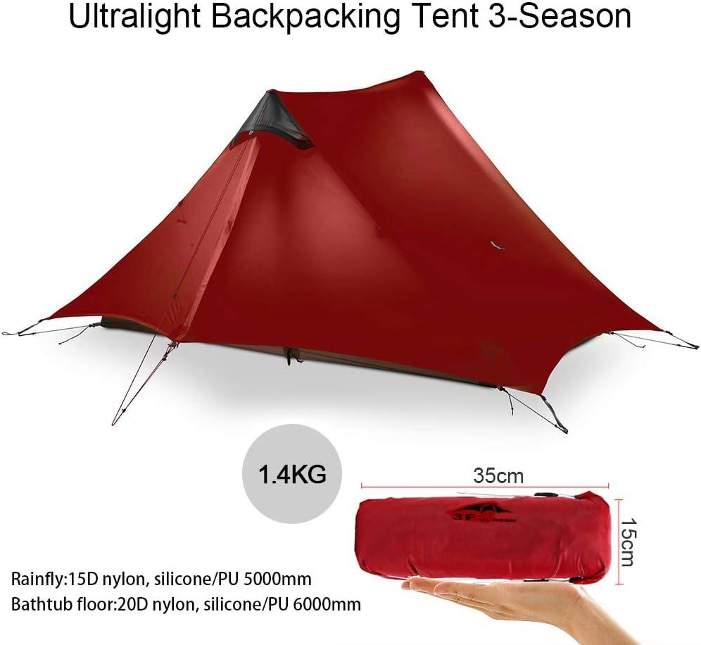 1 Personne KIKILIVE Nouvelle LanShan Tente de Camping ultral/ég/ère pour Une Utilisation en ext/érieur 2 Personnes L/ég/ères Camping Tente pour Le la randonn/ée et la randonn/ée