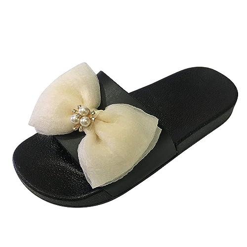 Luckycat Chanclas Mujer Sandalias de Mujer Verano Color Mezclado Corbata de moño Imprimir Letra Interior Al