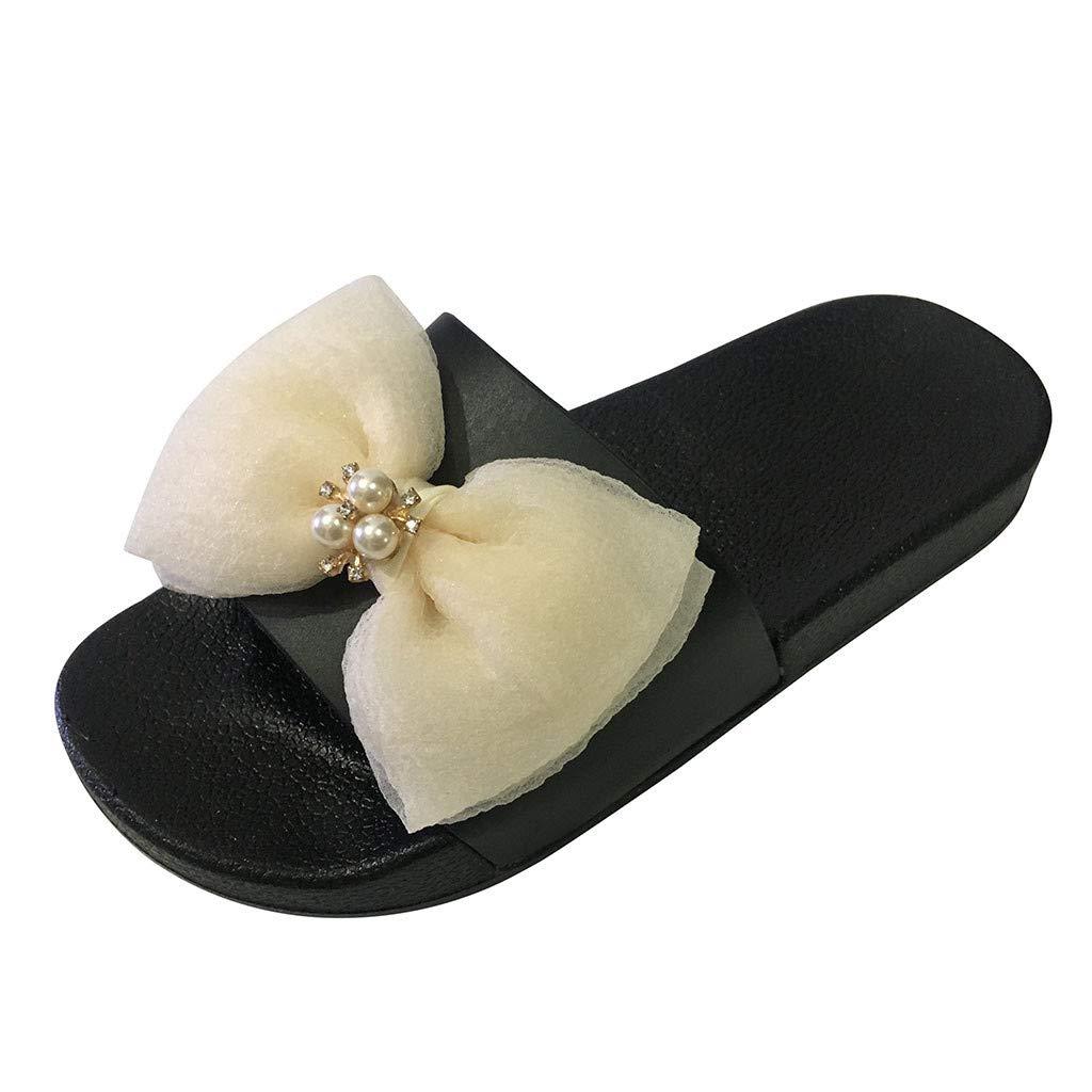 GONKOMA Women's Summer Bowknot Crystal Flat Slide Sandals Slippers Beach Shoes Beige