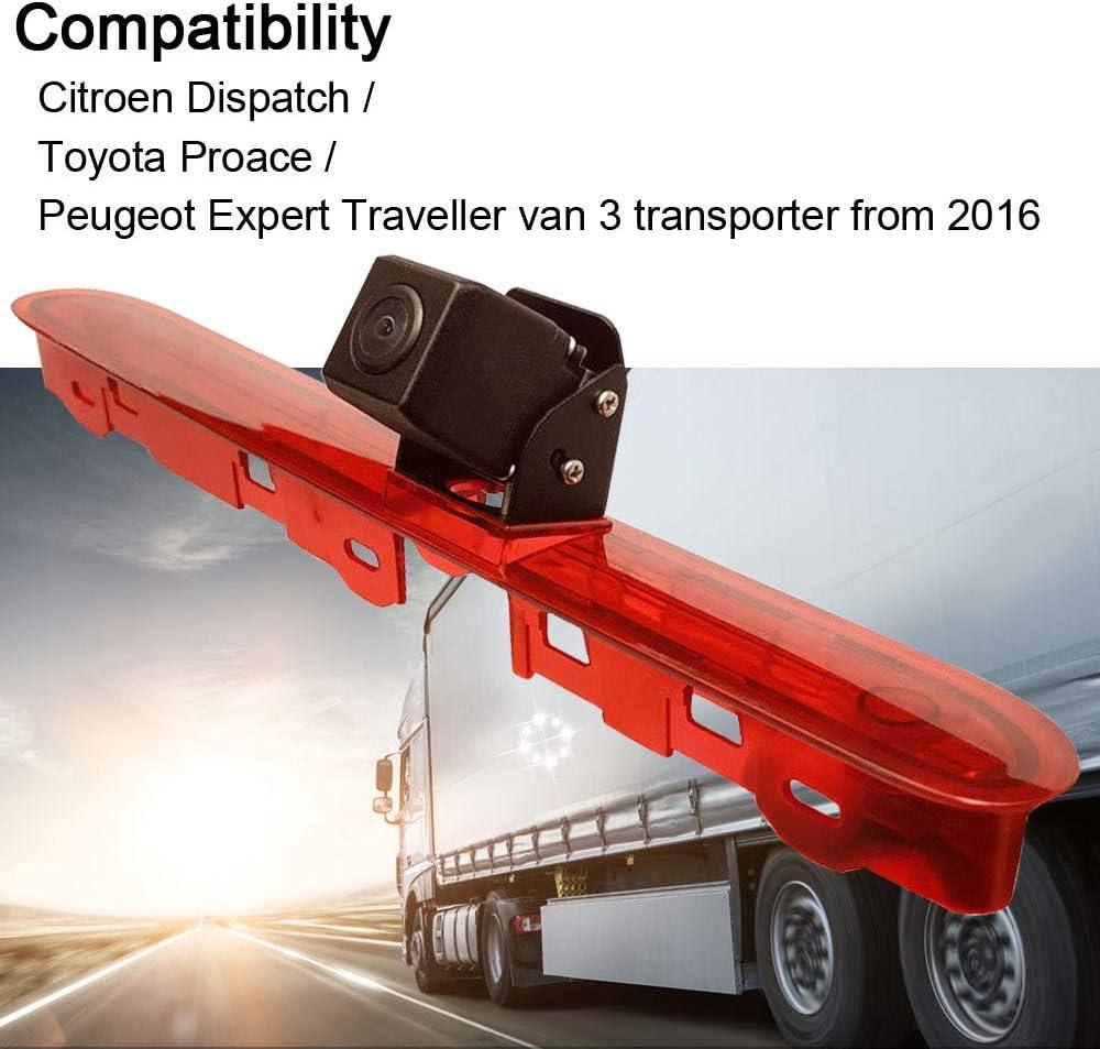 Cam/éra de recul pour Citro/ën Dispatch//Toyota Proace Veron//Peugeot Expert Traveller Van 3 Transporter /à partir de 2016 HDMEU Feu de Frein Troisi/ème Toit de Voiture