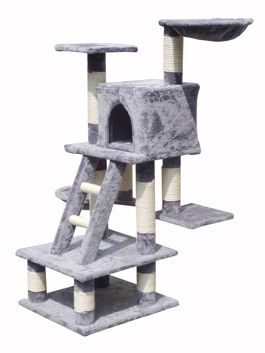 arbre a chat 122 cm gris catimini. Black Bedroom Furniture Sets. Home Design Ideas