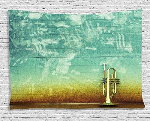 (Ambesonne Music Decor Tapestry, Old Aged Worn Single Trumpet Stands Alone Against a Faded Wall Jazz Music Theme Photo, Wall Hanging for Bedroom Living Room Dorm, 60 W X 40 L, Sea Green and Brown)