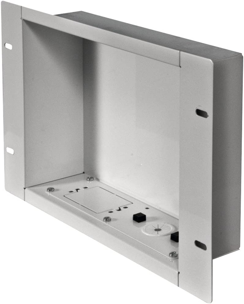 Recessed Cable Management and Power Storage Accessory Box - White