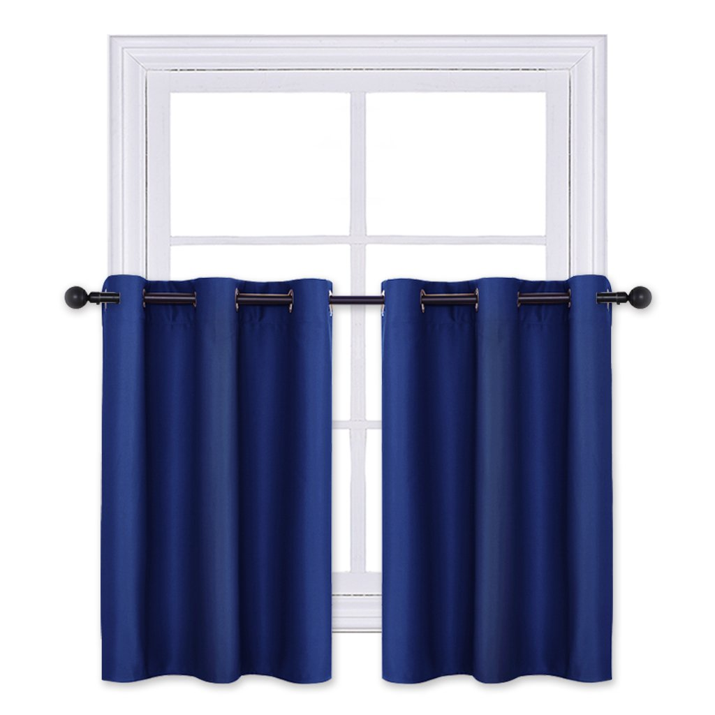 PONY DANCE Blackout Curtain Valances - Grommet Thermal Curtain Panels/Valances Blinds Modern Design for Bay Windows, 42'' x 36'', Navy Blue, Sold as 2 PCs