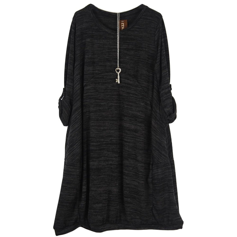 Italian Autumn Lagenlook Tunic Dress with necklace Plus Size 18 20 22 24 26