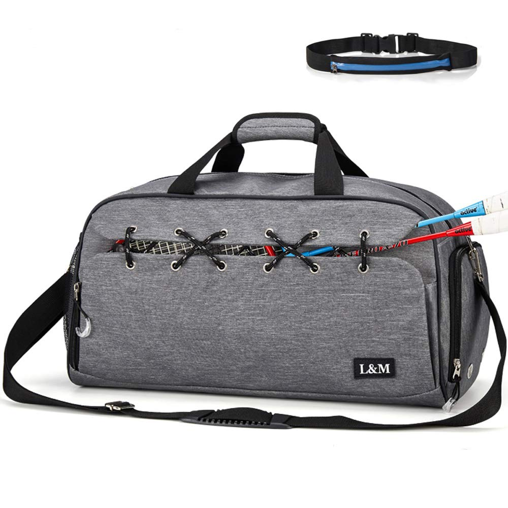 Rousika Tennis Gym Bag with Wet Pocket Shoes Compartment for Women Men GRAY