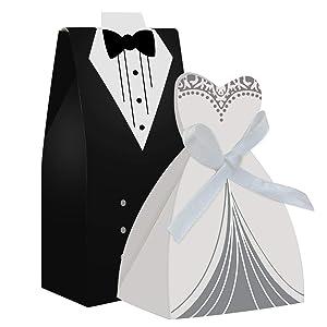 cnomg 100pcs Party Wedding Favor Dress & Tuxedo Bride and Candy Box