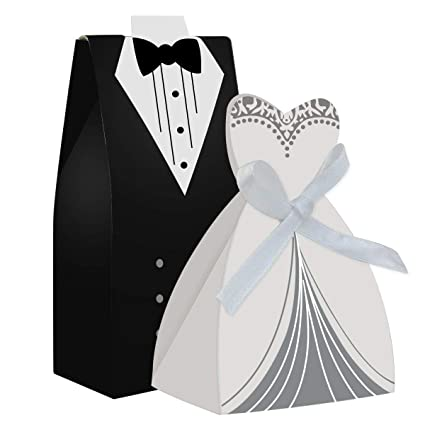 cnomg 100pcs party wedding favor dress tuxedo bride and wholesale candy favor boxcreative