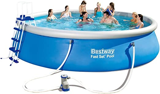 Piscina Redonda Hinchable Patio Jardín Escalera Bestway Fast Set, 549 x 122 cm: Amazon.es: Jardín
