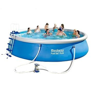 Bestway Fast Set Schwimmbecken Pool aufblasbar +Leiter Abdeckung ...