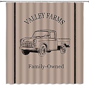 Farmhouse Truck Shower Curtain Retro Rustic Valley Farm Truck Car Sawyer Mill Retro Charcoal Vintage Primitive Barn Fabric Bathroom Decor Curtain with 12 Hooks,70x70 Inch,Tan Black